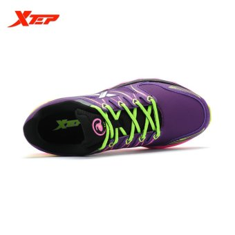 XTEP Brand Professional Running Shoes for Women Light Leather Running Sports Shoes Ladies Damping Athletic Sneaker (Purple) - 3