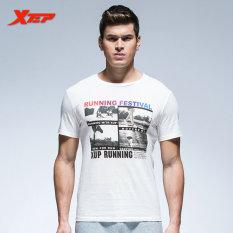 XTEP Men's Fashion Short Sleeve Tight T-shirt Clothing Summer Sporting Fashion Solid Man Base
