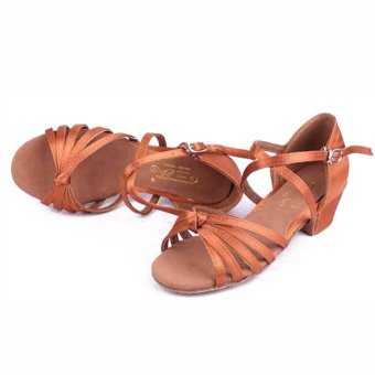 Yashion ankle wrape ballroom salsa dance shoes dance tango shoeslatin girls (Brown) - Intl