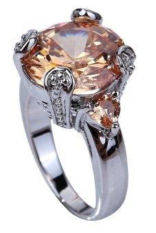 Yazilind Round Cut Morganite Silver Ring Brown