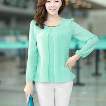 YBC Lady Long-sleeved Straight Chiffon Blouses Shirts Unlined UpperGarment Green - intl