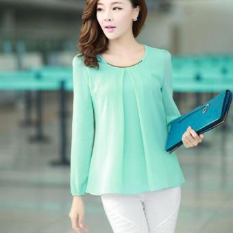 YBC Lady Long-sleeved Straight Chiffon Blouses Shirts Unlined UpperGarment Green - intl - 3