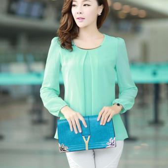 YBC Lady Long-sleeved Straight Chiffon Blouses Shirts Unlined UpperGarment Green - intl - 2