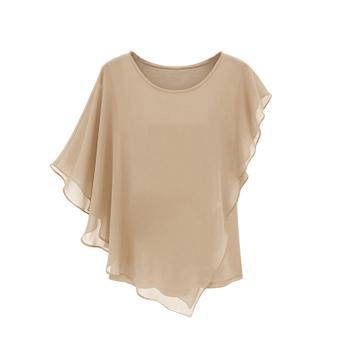 YBC Women Chiffon Short-sleeved Blouse Flounced Bat Shirt khaki - 2