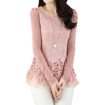 YBC Women Floral Chiffon Blouse Long Sleeve Lace Crochet Casual Tops Pink
