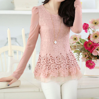 YBC Women Floral Chiffon Blouse Long Sleeve Lace Crochet Casual Tops Pink - 2