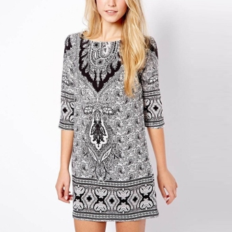 YBC Women Floral Print Slim Mini Dress Bohemian Totem