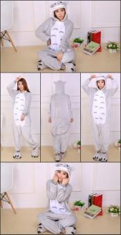 Yika My Neighbor Totoro Adult Unisex Pajamas Cosplay Costume OnesieSleepwear S-XL (Gray) - 2