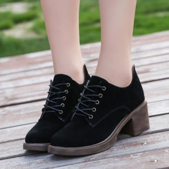 YIKOO Women's Fashion Leather Nubuck Martin Short Boots CasualMiddle heel Shoes (Black) - intl - 2