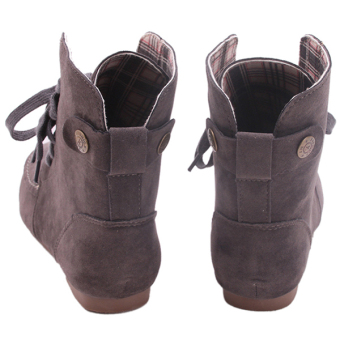 Yingwei Women Fashion Flat Ankle Boots Deep Grey