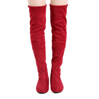 YingWei Women Winter Boots Anti-Skidding Inner Heighten Flat BottomHigh Knee Long Boots Red