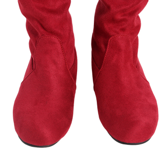 YingWei Women Winter Boots Anti-Skidding Inner Heighten Flat BottomHigh Knee Long Boots Red - 3