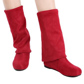 YingWei Women Winter Boots Anti-Skidding Inner Heighten Flat BottomHigh Knee Long Boots Red - 2