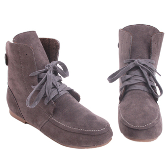 Yingwei Women Winter Cotton Flat Short Boots Deep Grey