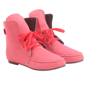 Yingwei Women Winter Cotton Flat Short Boots Watermelon Red