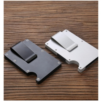 Yixiangqing Metal Mini Money Clip Brand Fashion Black White Credit Card ID Holder With RFID Anti-chief Wallet Black - intl - 5