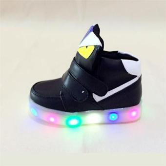 YL The New Children 's LED Lights In The Spring of Sports ShoesBoys and Girls Leisure Students Baby Shoes(Black) - intl - 4
