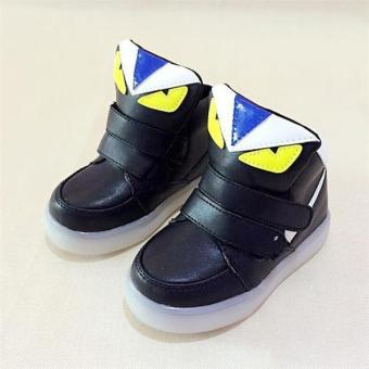 YL The New Children 's LED Lights In The Spring of Sports ShoesBoys and Girls Leisure Students Baby Shoes(Black) - intl - 2