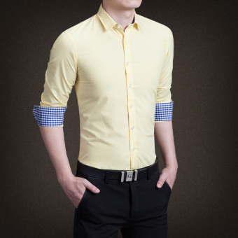 YMV Men's Korean-style Business Long Sleeve Solid Color Shirt (C13Huang)