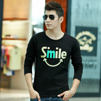 Youth cotton Slim fit men's long-sleeved t-shirt base shirt (Smiley-black)