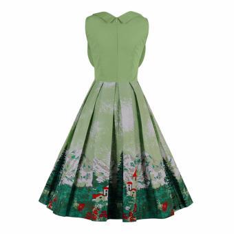 Zaful Women Fashion Vintage Printing Sleeveless Dress Retro Style Defined Waist Elegant - intl - 2