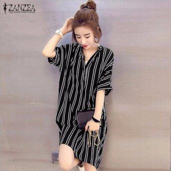ZANZEA Hot Sale Women Summer Dress Sexy V-Neck Short Sleeve CasualLoose Striped Shirt Dress Mini Vestidos Plus Size (Black) - intl - 2