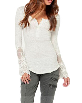 Zanzea Lace Button Loose Shirt (White) Price Philippines