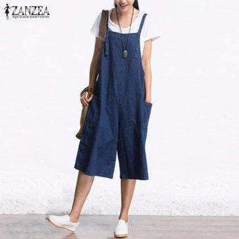 ZANZEA Rompers Womens Jumpsuit Summer Autumn Sleeveless Fashion Wide Leg Pants Denim Calf Length Vintage Overalls S-5XL - intl - 2