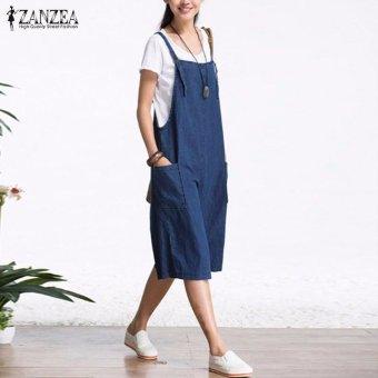 ZANZEA Rompers Womens Jumpsuit Summer Autumn Sleeveless Fashion Wide Leg Pants Denim Calf Length Vintage Overalls S-5XL - intl - 3