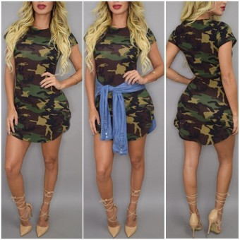 Zanzea Sexy Ladies Short Sleeve Casual Camouflage Slim Party Mini Dress - Intl - 2