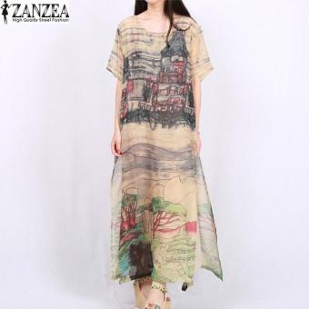 Zanzea Women Long Sleeve Crew Neck Loose Tunic Kaftan Floral Long Maxi Dress Wine Red Intl