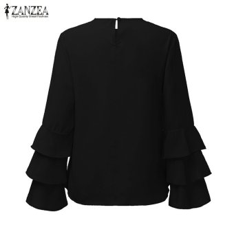 ZANZEA Women Blouses Ladies O-Neck Flounce Long Sleeve Solid Blusas Casual Loose Tops Plus Size (Black) - intl - 5