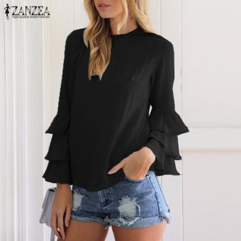 ZANZEA Women Blouses Ladies O-Neck Flounce Long Sleeve Solid Blusas Casual Loose Tops Plus Size (Black) - intl - 2