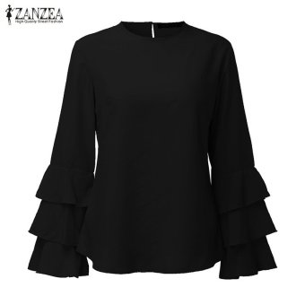 ZANZEA Women Blouses Ladies O-Neck Flounce Long Sleeve Solid Blusas Casual Loose Tops Plus Size (Black) - intl - 3