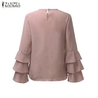 ZANZEA Women Blouses Ladies O-Neck Flounce Long Sleeve Solid Blusas Casual Loose Tops Plus Size (Pink) - intl - 5