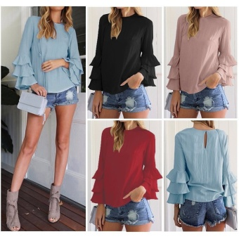 ZANZEA Women Blouses Ladies O-Neck Flounce Long Sleeve Solid Blusas Casual Loose Tops Plus Size (Wine Red) - intl - 4