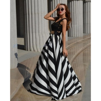ZANZEA Women Boho Lace Long Maxi Party Dress Beach Chiffon Stripe Dresses Black and White-Intl Price Philippines