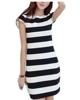 Zanzea Women Cap Sleeve Striped Bodycon Package Hip Mini Dress - Intl Price Philippines