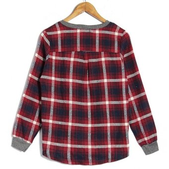 Zanzea Women Casual Long Sleeve Round Neck Check Plaid Casual Loose Tops Shirt Blouse Grey - 4