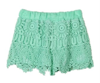 zanzea Women Elastic High Waist Lace Short Pants (Green) 3XL Price Philippines