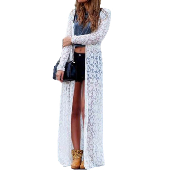 Zanzea Women Lace Floral Boho Cardigan Jacket Coat Kimono Kaftan White Price Philippines