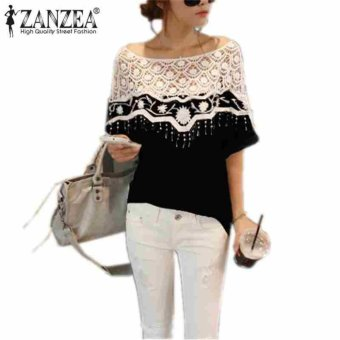 Zanzea Women Lace Shawl Neck Causal Shirt Blouse Black 5XL Price Philippines