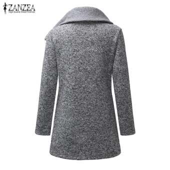ZANZEA Women Long Hoodies Sweatshirts Loose Casual Long Sleeve Zipper Solid Hooded Outwear Tops Female Fleece Jacket Coats (Grey) - intl - 4