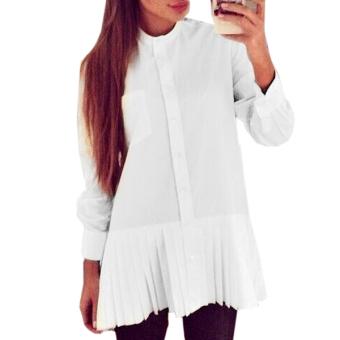 ZANZEA Women Loose Chiffon Long Sleeve Tops Casual Shirt Dress