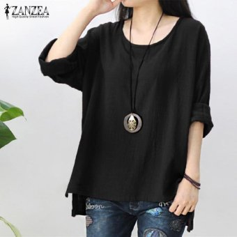 ZANZEA Women Round Neck Oversized T-Shirt Loose Blouse Pullover Tops Jumper Plus Size (Black) - intl Price Philippines