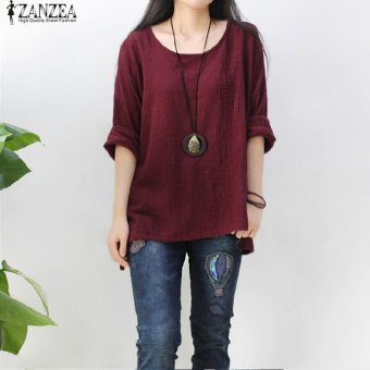 ZANZEA Women Round Neck Oversized T-Shirt Loose Blouse PulloverTops Jumper Plus Size (Wine Red) - intl Price Philippines