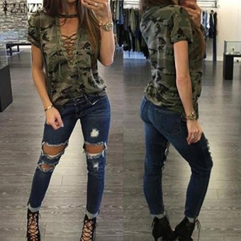 ZANZEA Women Summer Short Sleeve Tops T-Shirt Choker V Neck Lace-up Bandage Camouflage Print Casual Loose Tops Tees Blusas - intl