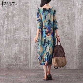 ZANZEA Women Vintage Long Maxi Dress Casual Loose O-Neck Long Sleeve Floral Print Dresses Elegant Plus Size (Blue) - intl - 3