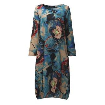 ZANZEA Women Vintage Long Maxi Dress Casual Loose O-Neck Long Sleeve Floral Print Dresses Elegant Plus Size (Blue) - intl - 4