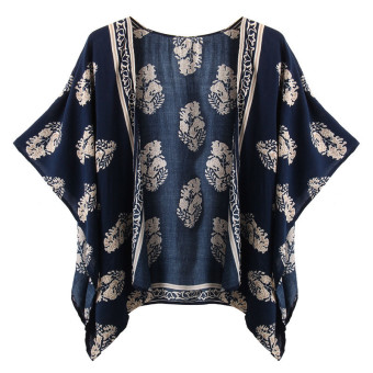 Zanzea Womens Retro Floral Tops Cape Blazer Cardigan Blue Price Philippines